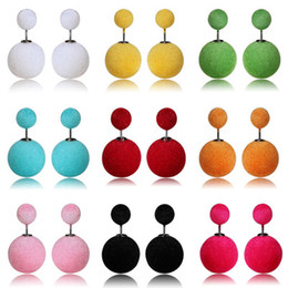 Color hot wool flocking fabric lady Earrings FZ60