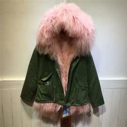 Épais chaud rose léger Mongolie fourrure de fourrure de mouton doublure capuche veste femmes hiver outwear agneau long fourrure parka court à partir de lignes de capot fabricateur