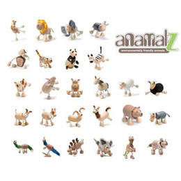 Wholesale - 24pcs Anamalz Maple Wood Handmade Moveable Animals Toy Farm Animal Wooden Zoo Baby Educational Toys