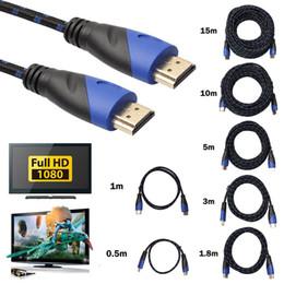Câbles xbox av en Ligne-Câble HDMI tressé 0,5 / 1 / 1.8 / 3/5/10/15 M V1.4 AV HD 3D pour Xbox HDTV 1M-15M Compteurs 1080P Câble numérique L3FE