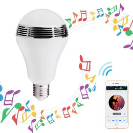 Wholesale Wireless Bluetooth Speaker Smart LED Light Bulb E27 Dimmable Multicolored Color Changing Lights Desk Lights Bar Sinks APP Controlled