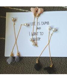 Wholesale The new copper plating of gold the south Korean long pearl flower ear wire earrings tassel earrings R244 cloth art temperament women