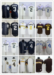 2017 johnny maillots manziel San Diego Padres 2 Johnny Manziel Maillots de base-ball 3 Derek Norris 4 Wil Myers Blank Bleu Marine Bleu Gris Blanc Chemises Cousues Accepter Mix Ordre johnny maillots manziel autorisation
