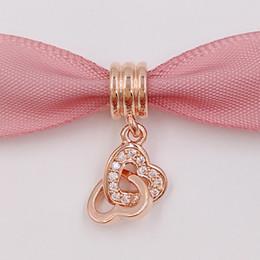 Corazón del oro de la pulsera 925 en venta-Día de San Valentín 925 cuentas de plata Corazón Rose cuelgan se adapta a Europea Pandora Estilo Joyería Pulseras Collar 781242CZ Rose Oro chapado