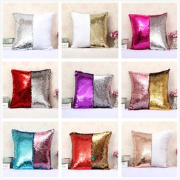Fashion gift Magic Glamour Bright Pillow 2 Color Sequin Mermaid Pillow Covers Reversible Cushion Cover Home Sofa Car-styling Decor CASE