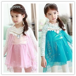 Wholesale 2017 Spring And Autumn New Pattern Frozen Role Installation Dress Girl Scout White Fence Long Sleeve Decorative Girl s Dresses C