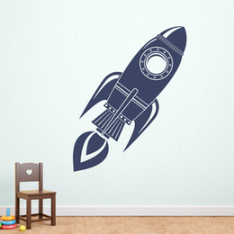 Rocket Wall Decal Silhouette Art Mural Boys Bedroom Bedding Decor Doodle Vinyl Space Interior DIY Wall Stickers