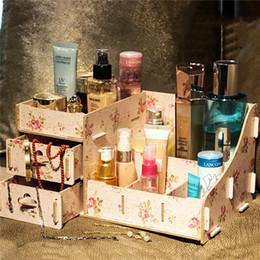 Almacenamiento de maquillaje de madera en Línea-Hoomall caja de almacenamiento de madera caja de joyas contenedor de maquillaje caso hecho a mano DIY Asamblea caja de madera de organizador cosmético 0703115