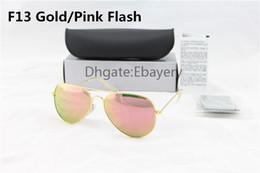 Gafas de sol de color rosa en Línea-Los vidrios de sol de las gafas de sol del piloto del diseñador de las mujeres de los hombres de la alta calidad se ennegrecen las lentes de cristal del espejo del color de rosa del flash de 58m m 62m m UV400