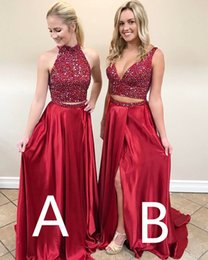 2017 Red High Neck V neck Cheap Two Pieces Prom Dress Open Back A line Crystal Bodice Rhinestone Satin Full Length A B Style Evening Formal