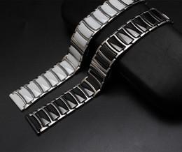 Descuento bandas de acero inoxidable enlaces Cerámica blanca negra al por mayor-20m m 22m m con los brazaletes de acero inoxidable recto Final Enlaces Sólidos Accesorios del reloj del diamante Bandas generales