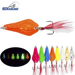Seanlure Colorful Glow Bony Fish 10g 1pcs Pack Sequins Lure Metal Spoon Bait Artificial Lure Feather Tail Treble Hooks Lure