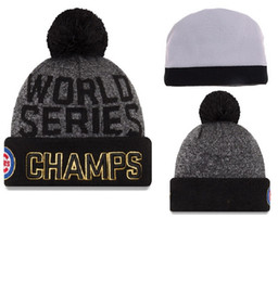 Wholesale world series champs cubs beanies Winter High Quality Beanie For Men Women Skull Caps Skullies Pom Knit Hats Drop Shipping