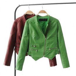 Desconto revestimento da motocicleta longas de couro Primavera, Mulher Outono Pure Color Brand PU jaqueta de couro 2017 Nova Zipper manga comprida Moto Jacket Short Coat Mulheres Outwear
