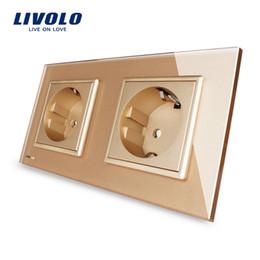 Livolo EU Standard Wall Power Socket, Golden Crystal Glass Panel, Manufacturer of 16A Wall Outlet, VL-C7C2EU-13