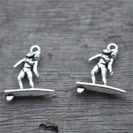 25pcs--Surfer Charms, Antique Tibetan Silver Tone Surfing charm pendants,Surf Board,Necklace charms 19x21mm