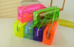 Wholesale Pencil bag of Japan and South Korea cute Candy colored transparent bag briefly bulk pencil Solid color clean pencil case