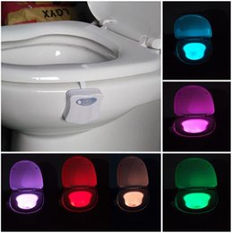 Wholesale LED Toilet Bathroom Night Light Human Motion Activated Seat Sensor Lamp Colors With retail packaging