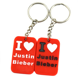 Wholesale 50PCS Lot I Love Justin Bieber Fashion Silicone Dog Tag Keychain Perfect Gift for Music Fans