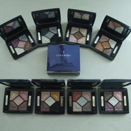 Tonelada de color en Línea-Pro 5 Color sombra de ojos Set Earthy Tones impermeable Maquillaje cosmética con espejo de larga duración de sombras de ojos paleta cosmético Set