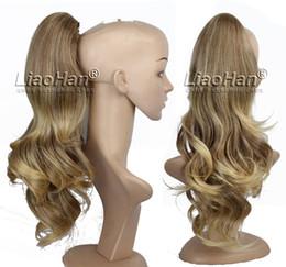 La mandíbula para el cabello en Línea-Ondulado Long Ombre Cabezuelas Extensiones de Cabello Dos Tonos Marrón a Fresa Cola de Pelo Rubio con una Cola de Pony Mandíbula
