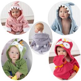 Wholesale New styles cute animal bathrobe Flannel Kids shark fox mouse owl model Robes cartoon Nightgown Children Towels Hooded bathrobes C1710