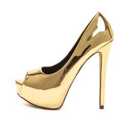 2017 las mujeres atractivas de oro Zandina Womens Fashion Sexy hecha a mano de tacón alto Peep Toe Plataforma multicolores tobogán de diapositivas bombas nupciales Zapatos de Oro económico las mujeres atractivas de oro