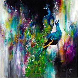 Wholesale Colorful Abstract the peacocks Pure Hand Painted Modern Wall Decor Abstract Animal Art Oil Painting On Canvas customized size al Dafe