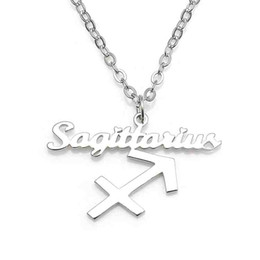 New Sagittarius Pendant Necklace 304 Stainless Steel 12 Constellations Necklaces Link Chain Women Charm Jewelry Wholesale Drop Shipping