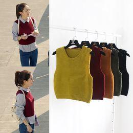 Wholesale Women Knitted Sweater Vest Wine Red Khaki Yellow Green Black Sleeveless Sweater Short Crop Top Sweater
