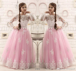 Wholesale Hot Pink Floor Length Flower Girl Dresses Long Sleeves A Line Appliques Pageant Dresses for Little Girls Hot Design