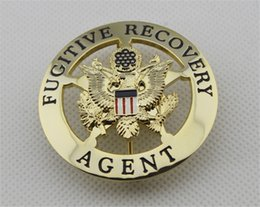 Wholesale American US FUGITIVE RECOVERY AGENT BAIL ENFORCEMENT METAL BADGE Diameter cm Collection Halloween cosplay Badge
