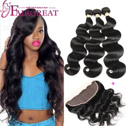 Brazilian Body Wave Virgin Hair With Lace Frontal Closure 3Bundles Human Hair Bundles With Lace Frontal Closure 13*4 lace frontal Closure