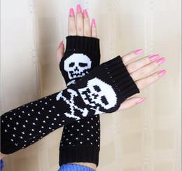 Lady Women's Cartoon Skull Knitting Acrylic Arm Sleeve Warm Warmer Gloves Outdoor Sports Gloves Autumn Winter