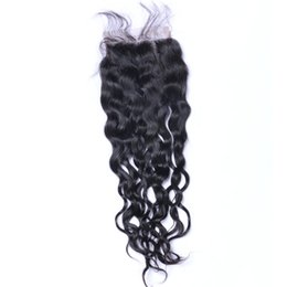 Hot Sale Natural Color Peruvian Malaysian Brazilian Wet And Wavy Unprocessed Human Hair 7A Grade Water Wave Hair With Lace Closure