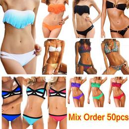 Hot Women's Fringe Bikini Swimwear Solid & Ombre Fringe Strap Halter Padded Girl Lady Swimming Swimsuit bathing Suit Top & Bottom 50pcs