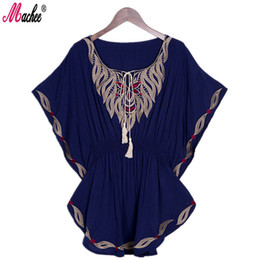 Woman Embroidery Blouse 2017 New Summer Vintage Female Ethnic Mexican Floral Loose Shirt Tops Boho Cotton Batwing Sleeve Woman Shirt