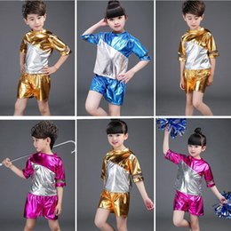 Gold Blue Boys Jazz dancewear costume Tops+Pants Kids Sequined Stage Ballroom Performance Dance costumes Dancing clothes for Child