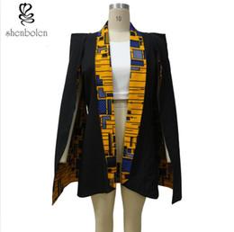 Shenbolan Womens Fashion Dashiki Ankara Wax African Print Reversible Cape Coat Jacket Can Be Worn On Both Sides
