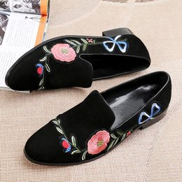 Embroidery flat shoes à vendre-Italie Luxury Men Broderie Velvet Chaussures Round Toe Designer Broderie Espadrilles Casual Flats Chaussures Slip On Party Prom Man Mocassins Flats