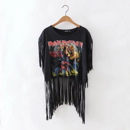 Roches de mode à vendre-Grossiste Tassel Culture Femmes Top Heavy Metal Iron Maiden Rock T-shirts 2016 Nouvelle Mode Eté Style Sleeveless Tee Sexy