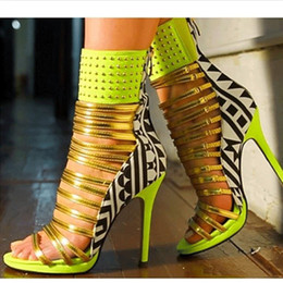 New Arrival Mixed Color Narrow Band Women Sandals Boots Woman Sexy Summer Style Patent Leather Thin High Heels Pumps Gladiator Sandals