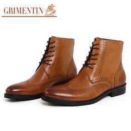 Promotion mens chaussures marron confortables Vente en gros- GRIMENTIN marque mode hommes bottines chaussures en cuir véritable confortable noir brun chaussures hommes de luxe pour les loisirs d'affaires 2016 zb81