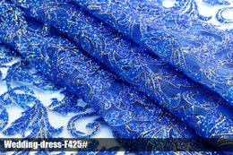 Royal Latest African Arabic glitter lace sequin mesh fabrics material new design high quality clothing multi color wedding dress for party
