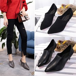 2017 women shoes new trend pointed high-heeled with black Suede fine with boots after the leather shoes Martin boots high heels 35-39