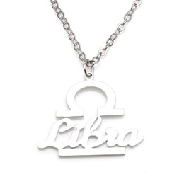 New Libra Pendant Necklace 304 Stainless Steel 12 Constellations Necklaces Link Chain Women Charm Jewelry Wholesale Drop Shipping