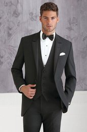 Wholesale Groom Tuxedos Groomsmen One Button Peak Lapel Best Man Suit Wedding Men s Blazer Suits Custom Made Jacket Pants Vest Tie K111