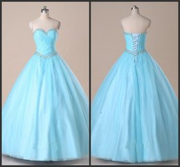 Wholesale 2017 Beautiful Baby Blue A line Prom Dresses Crystal Beading Sequins Pleats Draped Tulle Dresses Evening Wear Party Prom Gowns Custom Made