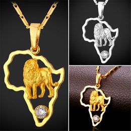 U7 African Jewelry Hip Hop Pendant Necklace Men Women Cubic Zirconia Lion Pendant Chain Gold Platinum Plated Africa Map Accessories