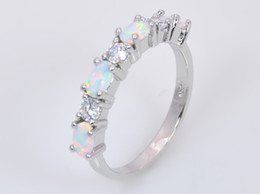 Wholesale & Retail Fashion Fine White Fire Opal Ring 925 Silver Plated Jewelry For Women EMT1517005